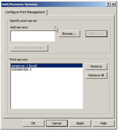 Adding remote print servers to Print Management Console
