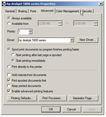 Configuring printer priority and availability