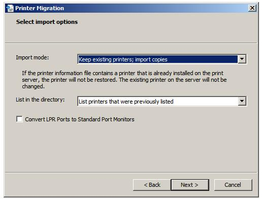 Selecting the printer import options